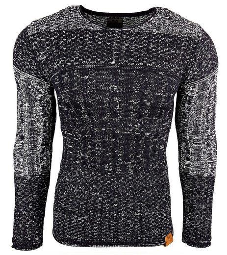 Rusty Neal Strickpullover »RUSTY NEAL Sweatshirt wärmender Strick-Pullover Herren Zopfmuster-Sweater Langarm-Pulli Blau«