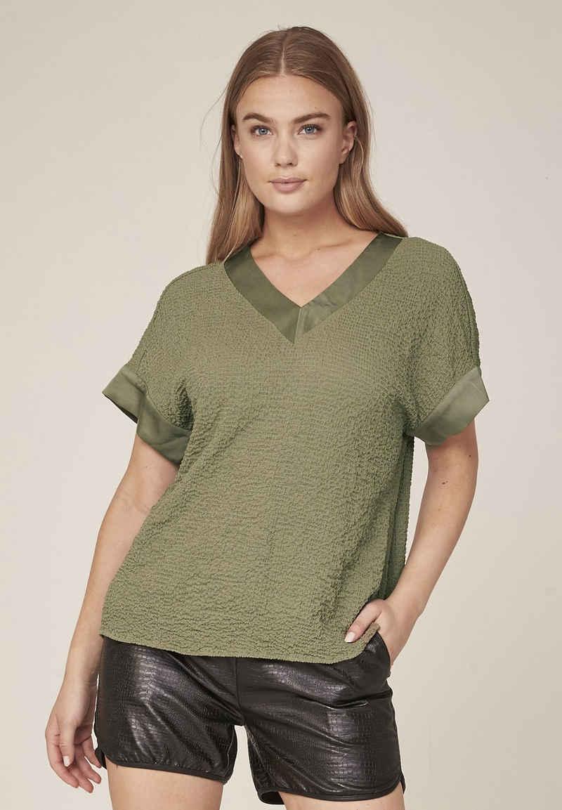 NÜ T-Shirt »Holly« Materialmix, Crinkle-Look