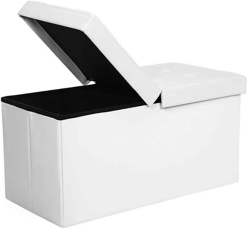 SONGMICS Sitzbank »LSF45WT LSF45BK LSF46GYZ LSF41G«, 80 L Sitztruhe, Sitzhocker, faltbar, PVC, weiß