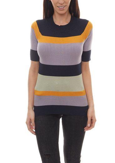 nümph Rundhalspullover »NÜMPH Kurzarm-Pullover modischer Damen Rippstrick-Pulli im Streifen-Design Sommer-Pullover Bunt«