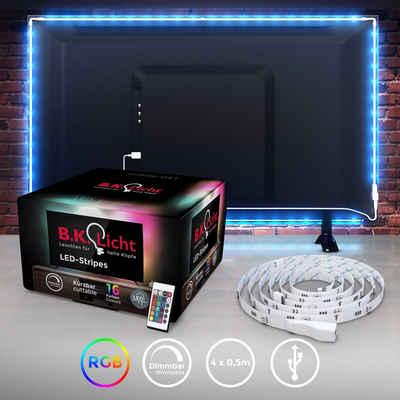 B.K.Licht LED-Streifen, LED TV Hintergrundbeleuchtung Backlight 2m USB RGB selbstklebend