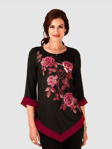 Paola Shirt mit modischem Rosendruck vorne