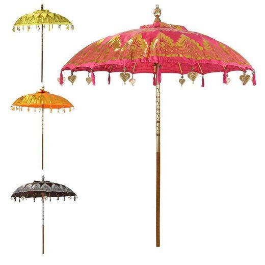 Oriental Galerie Sonnenschirm »Balinesischer Sonnenschirm 180 cm Doppelte Bemalung Pink Gold«, Handarbeit