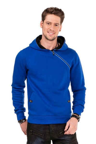 Cipo & Baxx Kapuzensweatshirt mit Reißverschluss Kragen