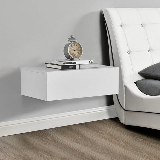 en.casa Wandregal, »Elverum« mit Schublade Nachttisch weiß matt