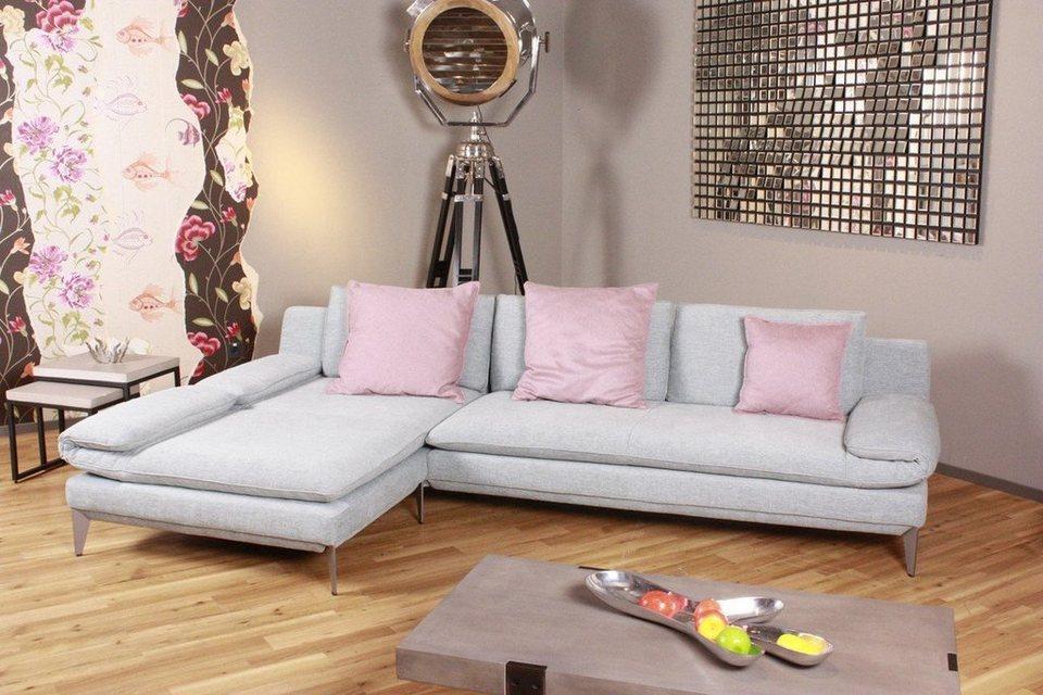 KAWOLA Sofa »SIOX«, Stoff grau mit Armlehnenfunktion ...