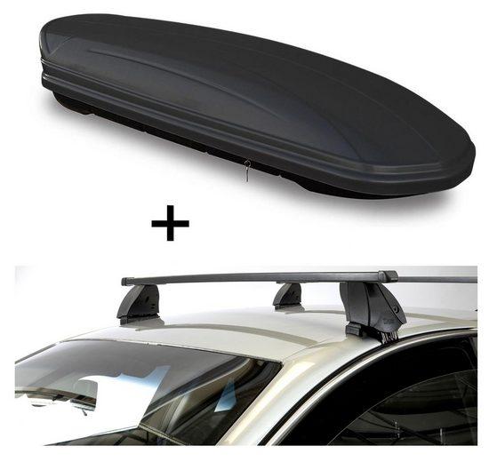 VDP Fahrradträger, Dachbox VDPMAA460 460 Liter schwarz matt abschließbar + Dachträger K1 MEDIUM kompatibel mit Mazda 2 (DJ) (5Türer) ab 14