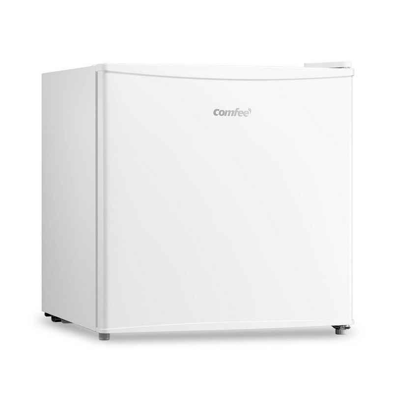 comfee Table Top Kühlschrank RCD50WH1(E), 49.2 cm hoch, 47.2 cm breit, Verstellbare Füße, Herausnehmbare Ablagefläche aus Glas, Weiß