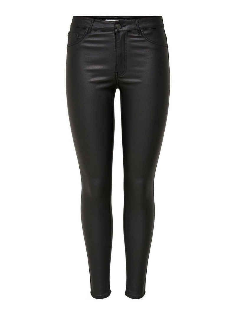 JACQUELINE de YONG Lederimitathose »3045« JDY Damen Hose Leder Optik Coated Denim Skinny
