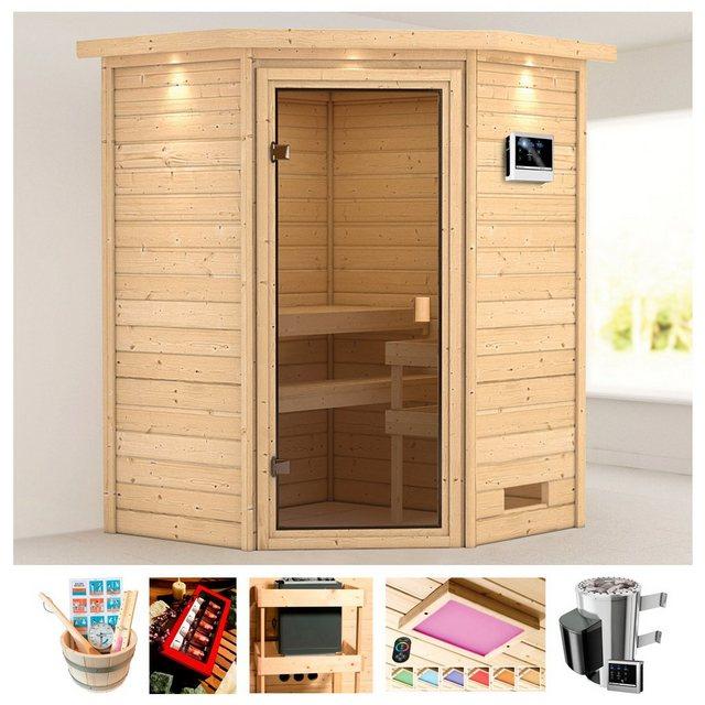 Saunen und Zubehör - KARIBU Sauna »Rügen 1«, 173x159x191 cm, 3,6 kW Plug Play Ofen, ext. Strg., Dachkranz  - Onlineshop OTTO