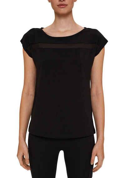 esprit sports Kurzarmshirt mit Mesh-Einsatz auf der Vorderseite auf Brusthöhe