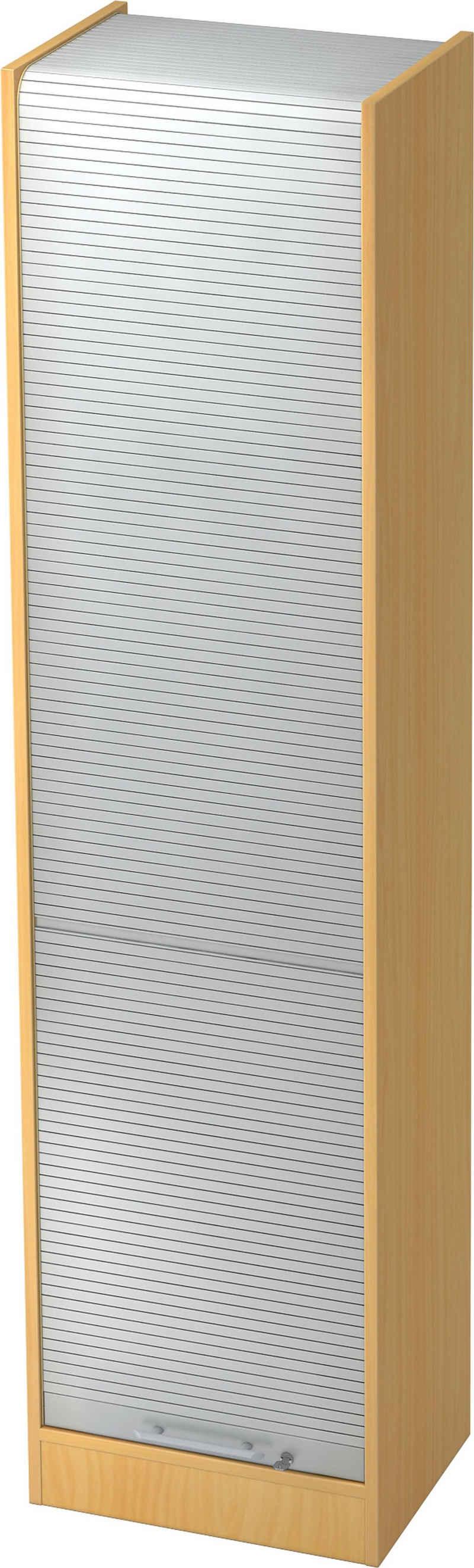 bümö Rollladenschrank »OM-SET50« Aktenschrank mit Rollladen abschließbar, Büroschrank für Aktenorder - 5 Ordnerhöhen - Dekor: Buche/Silber