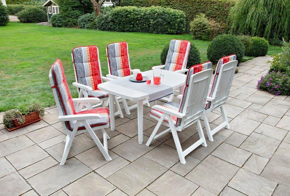 Best Gartenmöbelset Kopenhagen 13 Tlg 6 Klappsessel Tisch 137x90 Cm Kunststoff Weiß Online Kaufen Otto