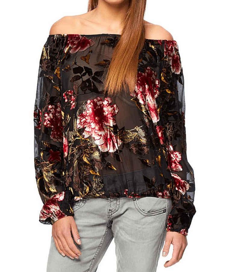 Herrlicher Langarmbluse »Herrlicher Daje Langarm-Bluse modisches Damen Sommer-Shirt mit Blumenmuster Freizeit-Shirt Schwarz/Bunt«
