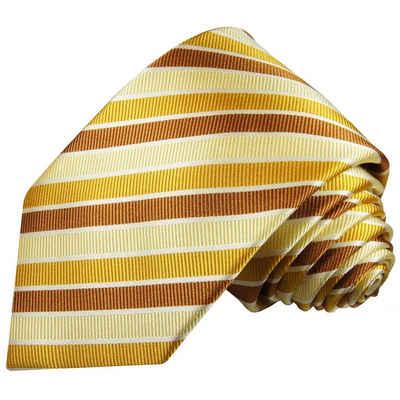 Paul Malone Krawatte »Moderne Herren Seidenkrawatte gestreift 100% Seide« Breit (8cm), gelb gold braun 272