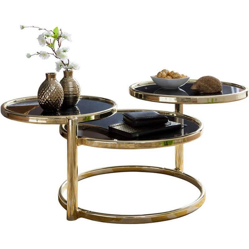 Wohnling Couchtisch »WL5.767«, mit 3 Tischplatten Schwarz / Gold 58 x 43 x 58 cm Beistelltisch Rund Design Wohnzimmertisch Glas / Metall Designer Glastisch Sofatisch modern Kleiner Loungetisch
