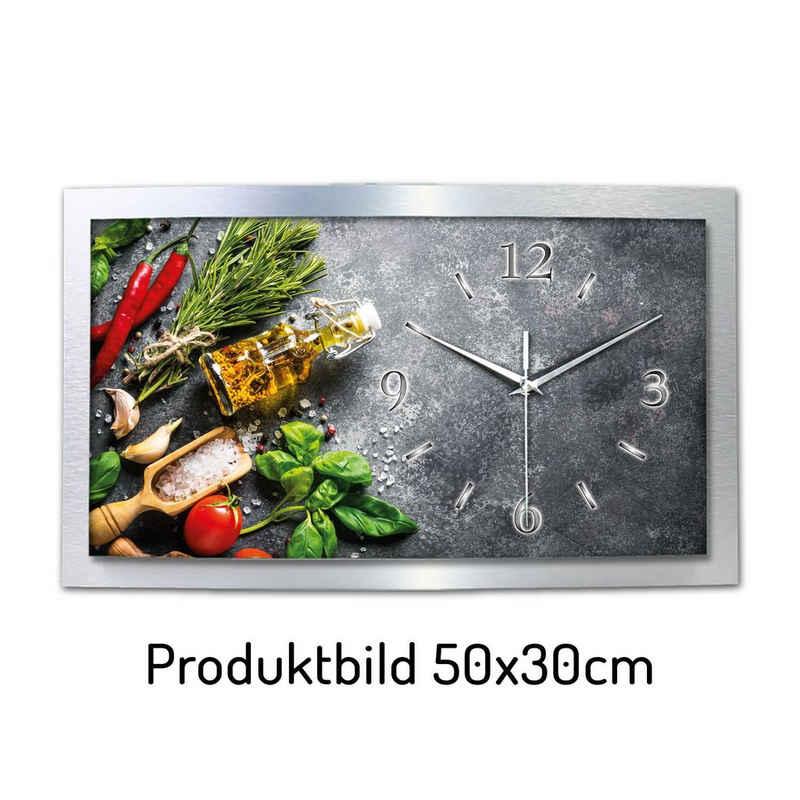 Kreative Feder Funkwanduhr »WAA119« (leise/kein Ticken, aus Aluminium, 3D Wölbung, 80x40cm, Küche, Kochen, Essen, Kräuter, Gewürze)