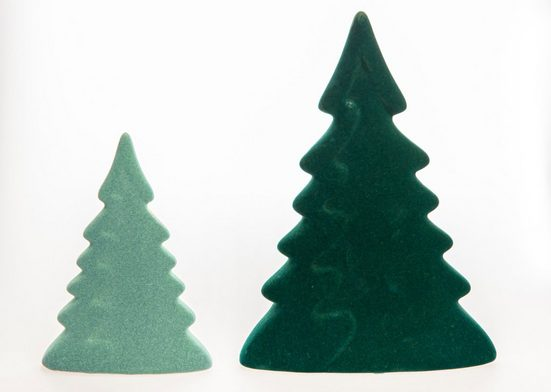 VALENTINO Wohnideen Dekobaum »Moria« (Set, 2 Stück, 1x klein/hellgrün, 1x groß/dunkelgrün), mit Samtüberzug