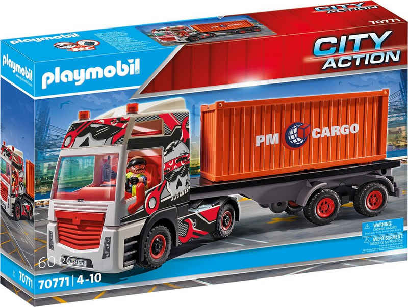 Playmobil® Konstruktions-Spielset »LKW mit Anhänger (70771), City Action«, (60 St), Made in Germany