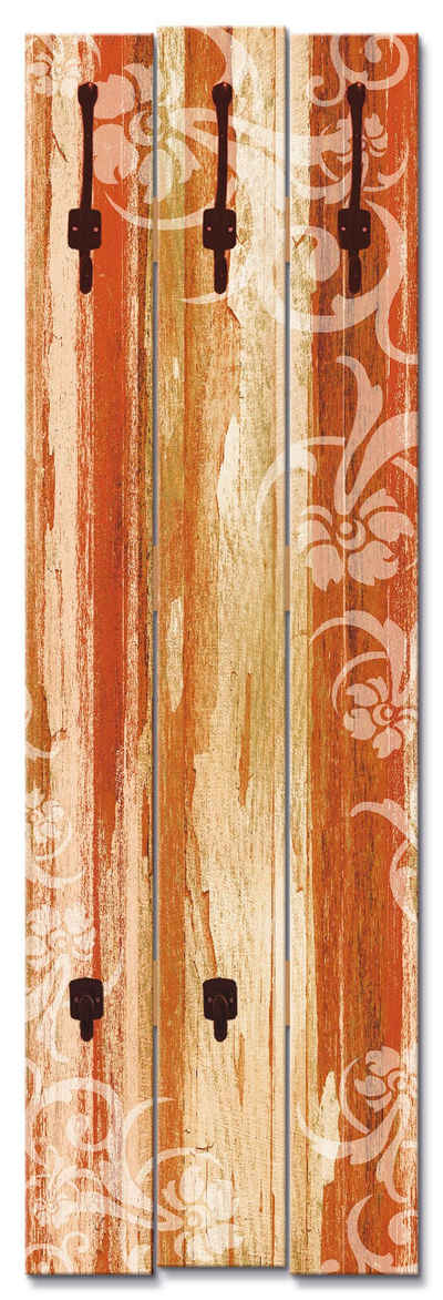 Artland Garderobenpaneel »Blumenornamente im alten Stil«, platzsparende Wandgarderobe aus Holz mit 5 Haken, geeignet für kleinen, schmalen Flur, Flurgarderobe