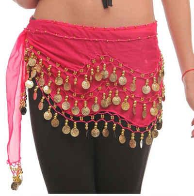 MyBeautyworld24 Kostüm »Belly Dance Bauchtanz Hüfttuch Kostüm 128 goldfarbenen Münzen Münzgürtel Fasching Karneval Tanzaufführung Gürtel«