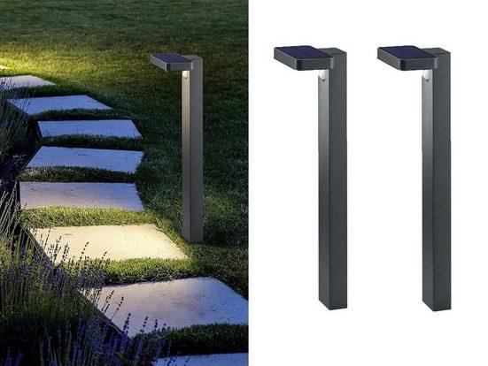 meineWunschleuchte LED Solarleuchte, 2er Set Poller-Leuchte mit Bewegungsmelder in Anthrazit für draußen, Terrasse, Garten