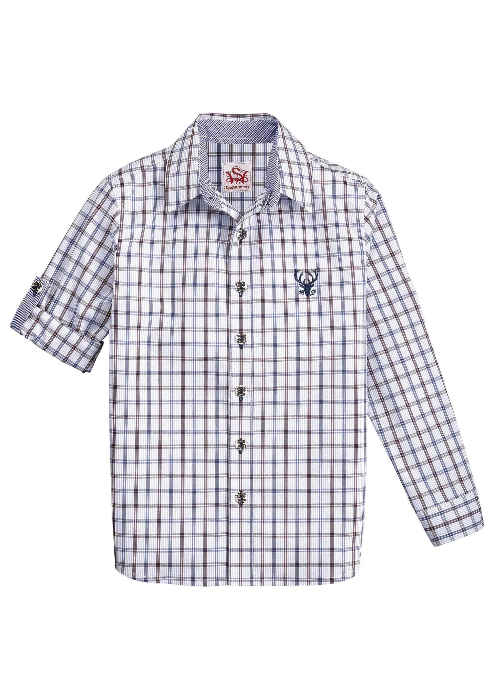 Herren,  Kinder Spieth & Wensky Trachtenhemd Kinder mit Hirschstickerei    04059829492004