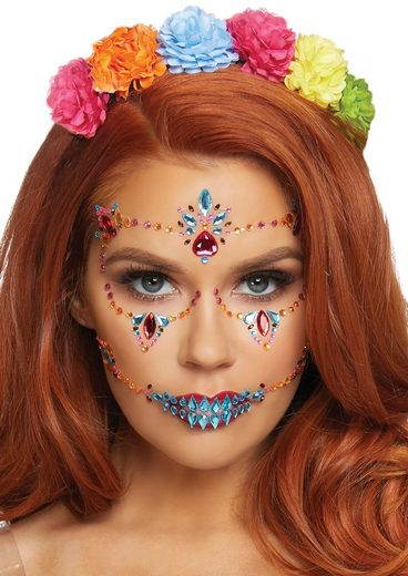 24costumes Slip »DOTD face jewels sticker - Groesse: O/S - Farbe: Multicolor«