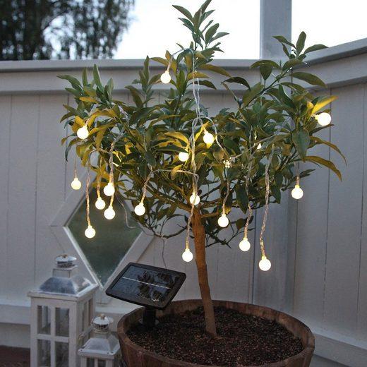 STAR TRADING LED-Lichterkette »LED Solarlichterkette Kugeln Globini 20 warmweiße Bälle L: 4,75m Lichtsensor«, 20-flammig