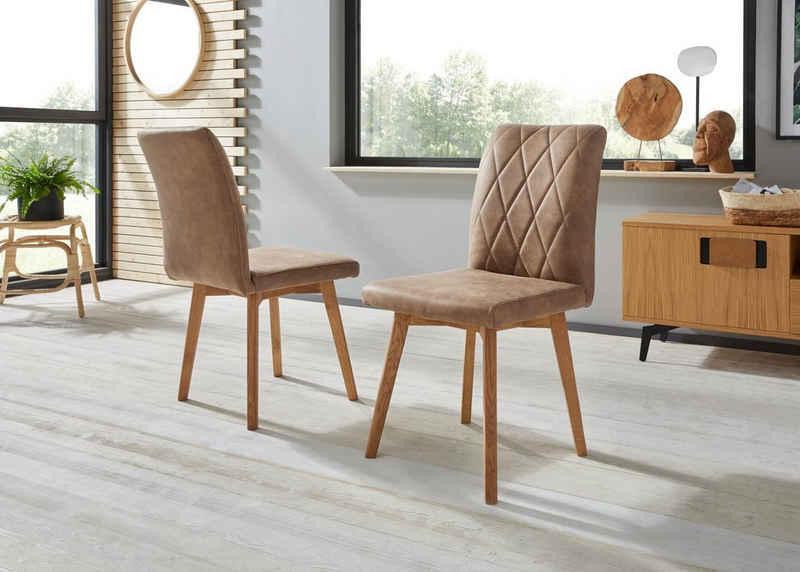 Premium collection by Home affaire 4-Fußstuhl »Brest« (Set, 2 Stück), Gestell aus Eiche Massivholz geölt