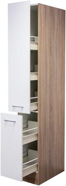 Flex-Well Classic Apotheker-Hochschrank Samoa 30 cm Weiß-Sonoma Eiche