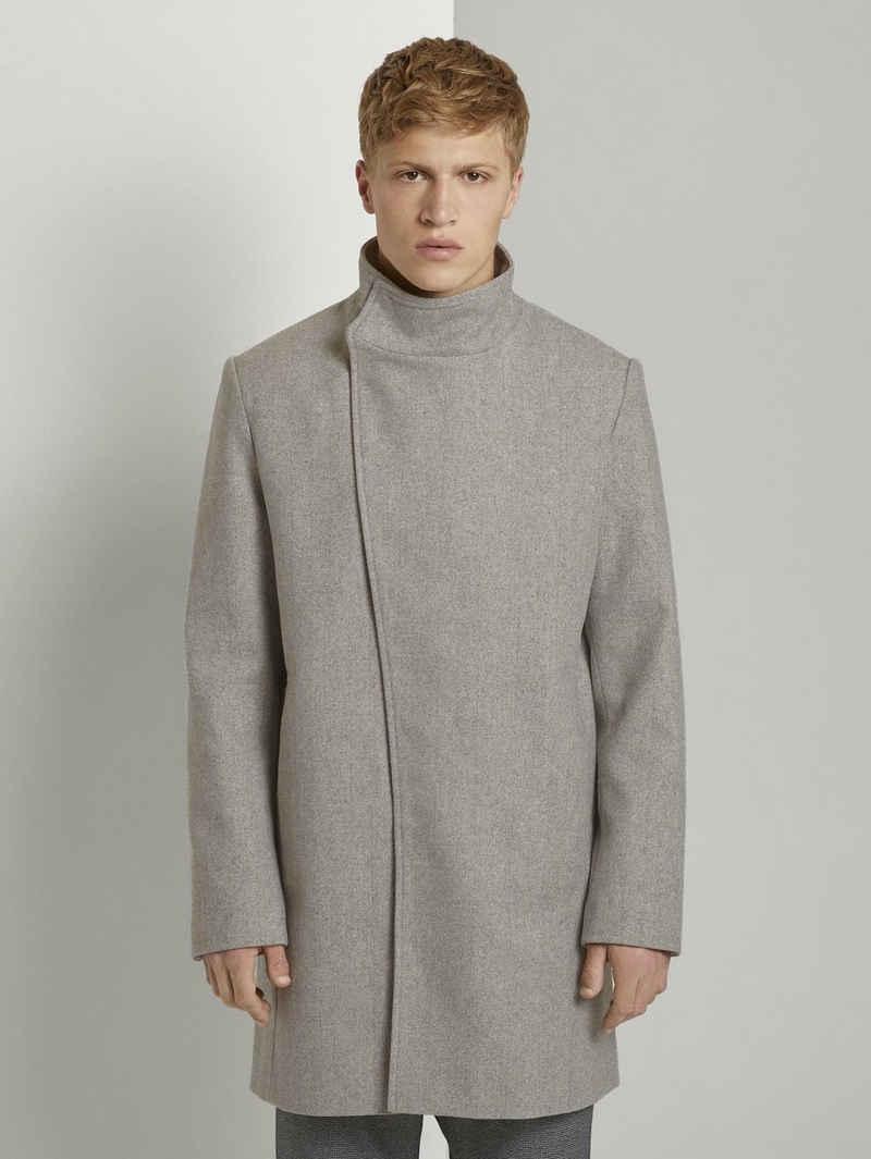 TOM TAILOR Denim Lederjacke »Asymmetrischer Mantel mit Stehkragen«