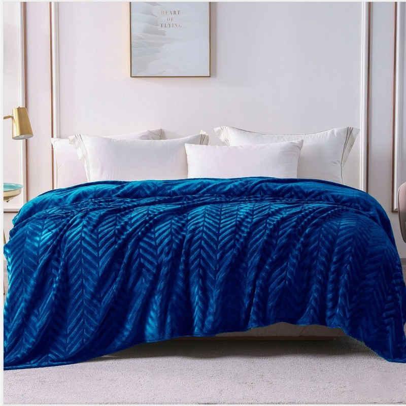 Wohndecke »Wohndecke Königsblau«, Yebeda, Premium Wohndecke, Mikrofaser Fleece-Decke, 220 x 240 cm, TV- Decken/Sofadecke, Flauschige, Gemütlich, Langlebig