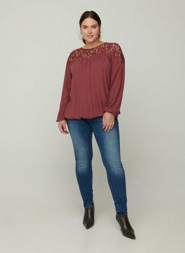 Zizzi Spitzenbluse Große Größen Damen Langarm Bluse mit Spitze und Rundhalsausschnitt