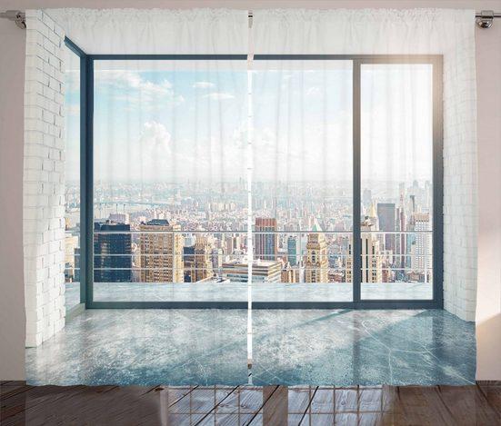 Gardine »Schlafzimmer Kräuselband Vorhang mit Schlaufen und Haken«, Abakuhaus, Landschaft Leeres Loft Ansicht