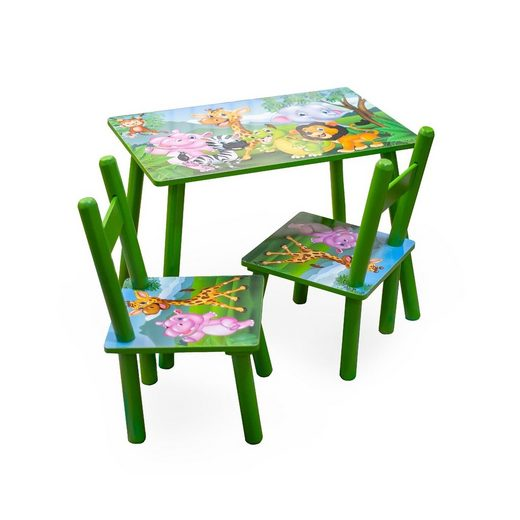 HTI-Line Kindersitzgruppe »Kindertischgruppe Dschungel«, (Tisch und 2 Stühle, 3-tlg), Kindertisch