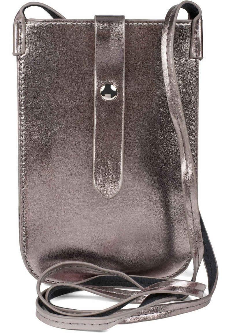 styleBREAKER Mini Bag, Handy Umhängetasche Metallic Optik