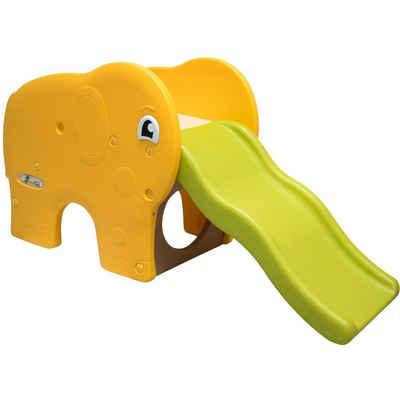 LittleTom Rutsche »Kinderrutsche Elefanten Kinder breite Stufe«, Gartenrutsche Grün Gelb