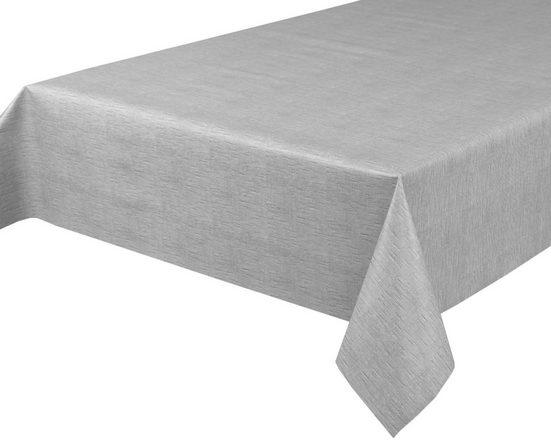 Beautex Tischdecke »Wachstuchtischdecke, Leinen grau, abwischbar Wachstuch Garten Tischdecke ECKIG RUND OVAL, Größe wählbar« (1-tlg)