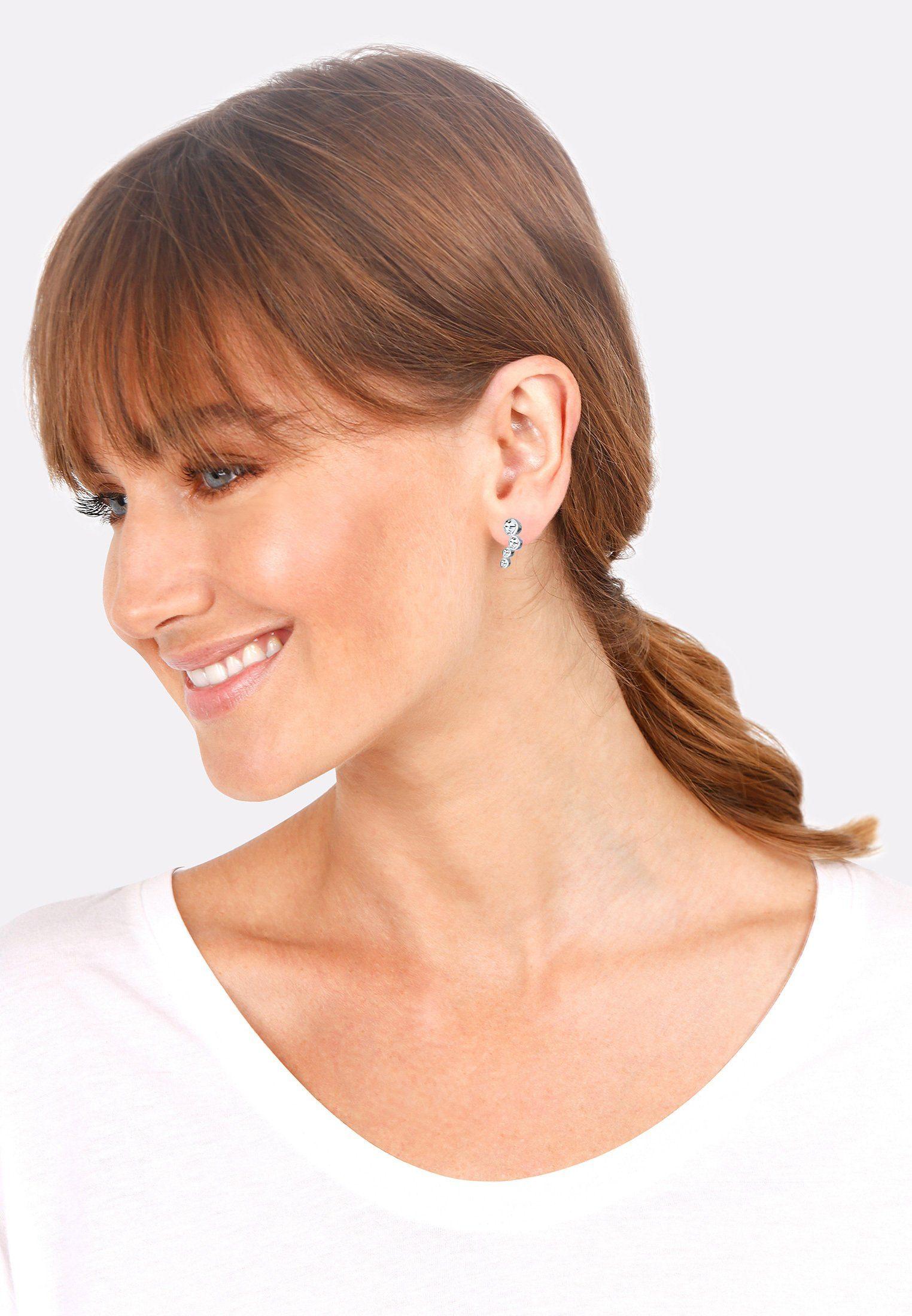 Elli Paar Ohrstecker Rund verspielt mit Swarovski® Kristalle 925 Silber online kaufen LqzMit