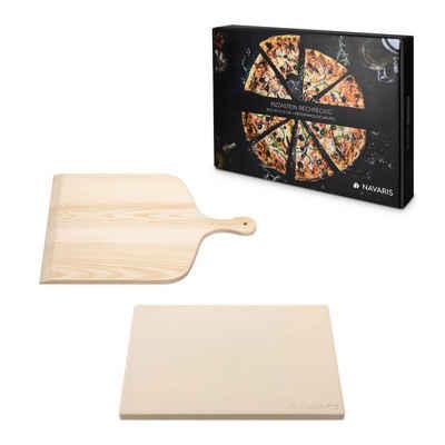 Navaris Pizzastein, Cordierit, für Backofen Grill aus Cordierit - 38x30cm Pizza Stein für Ofen mit Pizzaschaufel - Gasgrill Holz-Kohle Herd Teller rechteckig