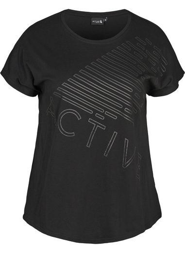 Zizzi Trainingsshirt Große Größen Damen T-Shirt mit kurzen Ärmeln, Rundhalsausschnitt und Print