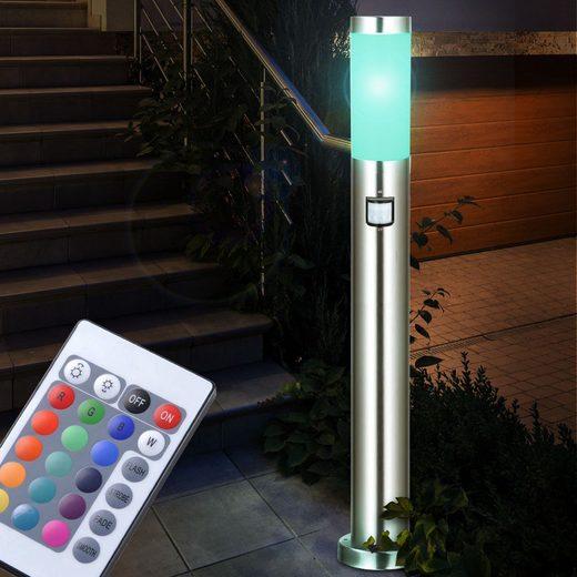 etc-shop LED Außen-Stehlampe, Außen Steh Stand Leuchte Veranda Lampe silber Sensor Fernbedienung im Set inklusive RGB LED Leuchtmittel