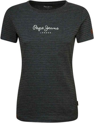 Pepe Jeans Print-Shirt »MAHSA« in Querstreifen-Optik mit Marken-Logo-Aufdruck im Brustbereich und Label-Details