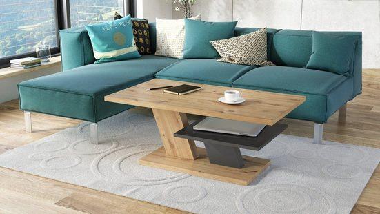 Mazzoni Couchtisch »Design Couchtisch Cliff Eiche Artisan / Anthrazit Grau matt Tisch Wohnzimmertisch 110x60x45cm mit Ablagefläche«