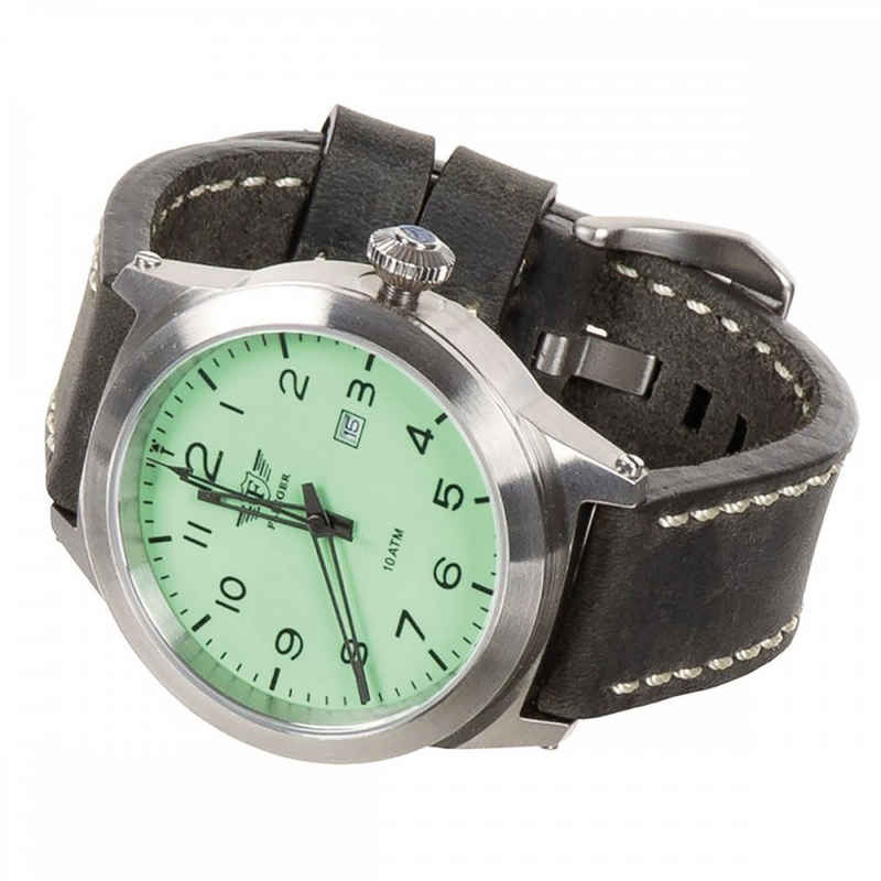 FLIEGER Fliegeruhr »Armbanduhr, Lederarmband grau, mit Etui«, (mit Armband), aus Edelstahl
