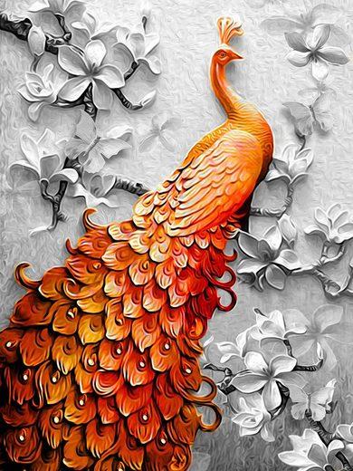 Consalnet Vliestapete »Pfau in Orange«, Motiv