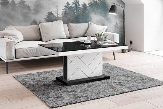 designimpex Couchtisch »Design Couchtisch Tisch HM-333 Schwarz / Weiß Hochglanz höhenverstellbar ausziehbar«