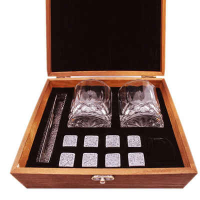 elbedruck Whiskyglas »Geschenk-Set Whisky mit 2 Gläsern, 8 Whisky-Steinen (Basalt), Zange und Beutel in edler Holzbox Whiskey-Set«, 12-teilig
