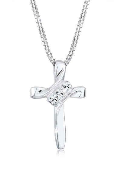 Elli Collierkettchen »Kreuz Modern mit Kristalle 925 Silber«